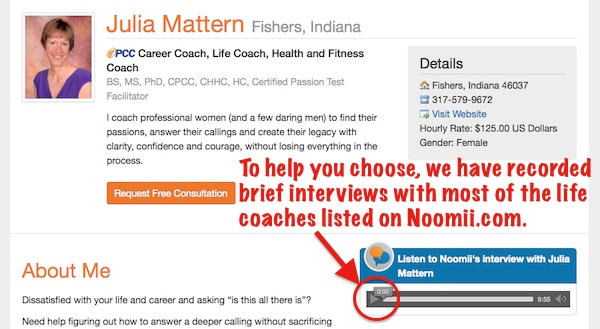 Interviews are displayed on life coach profiles